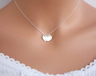 Customized Family initials Disk Necklace - You can make your choice of Sterling Silver or Gold Filled and number of disk you want,Sweet gift