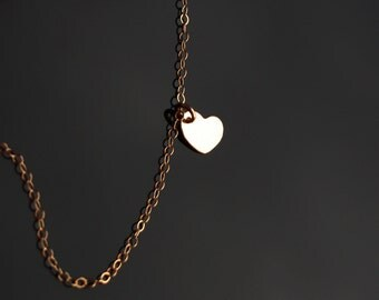 14K gold filled heart necklace - initial engraved necklace, personalized gift, short simple everyday wear, mom mothers sisters daughters