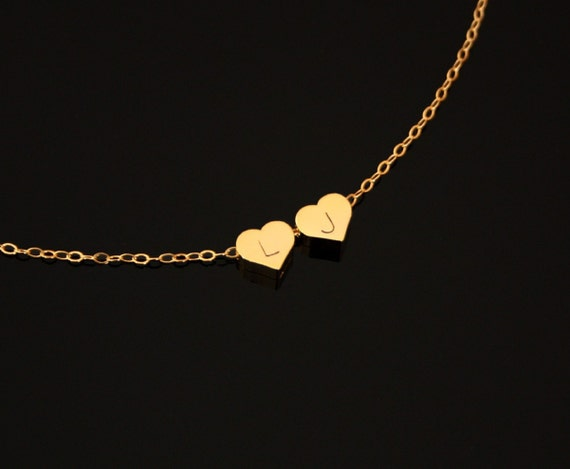initial hearts necklace in Gold Filled chain -Available in  silver, personalize , birthday Mothers day gift, mom daughter wife necklace