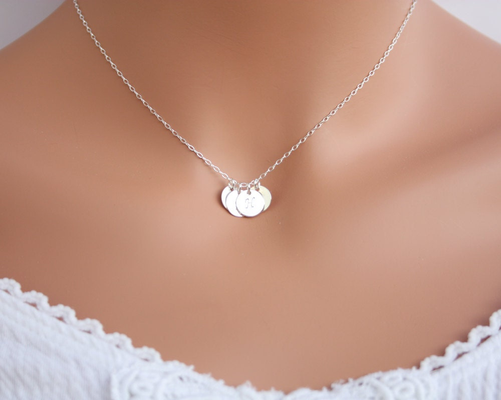 valentine gift  four sterling silver initial necklace family