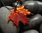 FREE Shipping to the USA and Canada - - Real Sugar Maple Leaf in Iridescent Copper- - Necklace