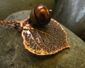 "FREE Shipping to the USA   Real Aspen leaf  Necklace -Antique Copper -Copper Colored Glass Pearl - 16.5"" Antique Copper Chain Gift"