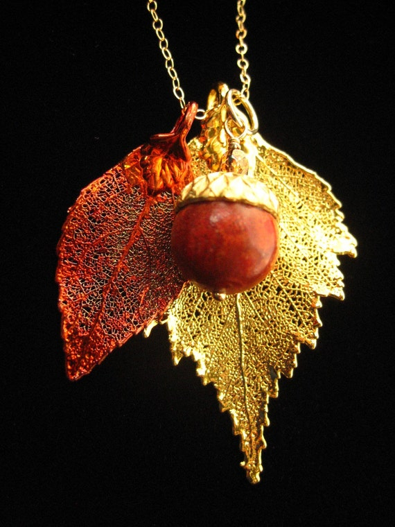 FREE THANK YOU GIFT WITH PURCHASE AND FREE SHIPPING TO THE USA AND CANADA- - REAL BIRCH LEAF IN 24KT GOLD- REAL EVERGREEN LEAF IN IRIDESCENT COPPER- -RED SPONGE CORAL ACORN- 18in. 14KT GOLD FILL CABLE CHAIN INCLUDED - - NECKLACE