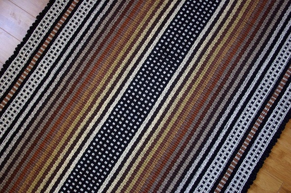 Washable Cotton Rag Rug in Neutral, Black White 3' x 5'