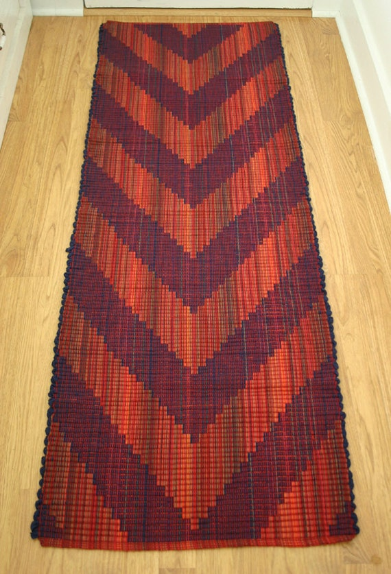 Rag Rug Runner In Orange And Purple 2 X 6