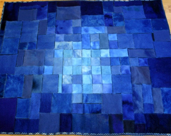 Wool Throw Blanket - Blue Recycled Hand Dyes