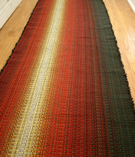 Cotton Rug in Reds and Sage 2 x 6