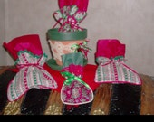 Reworked Gift BAGS and reconstructed Christmas FLOWER POT Hostess gift filled with your goodies