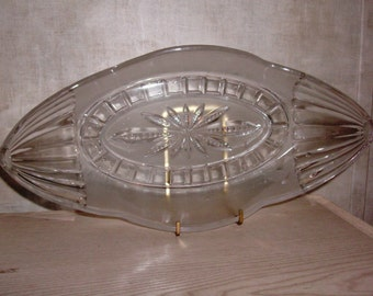 Vintage Banana dish or Banana boat clear glass with frosted glass