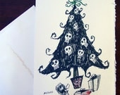 Goth Christmas Tree Card with Skull Ornaments by Amy Crook