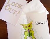 Handmade Card - Hound of Tindalos - Look Out Rawr