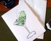 Squid Martini Card - Handmade Party Invitation or Birthday Card by Amy Crook
