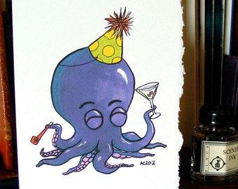 Octopus Birthday Card - Party Octo in the House