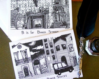 B is for Baker Street - Sherlock BBC Handmade Cards in the Style of Edward Gorey