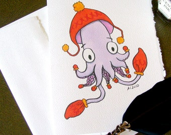 Squid with Mittens Holiday Card - Knitwear with Ear Hat