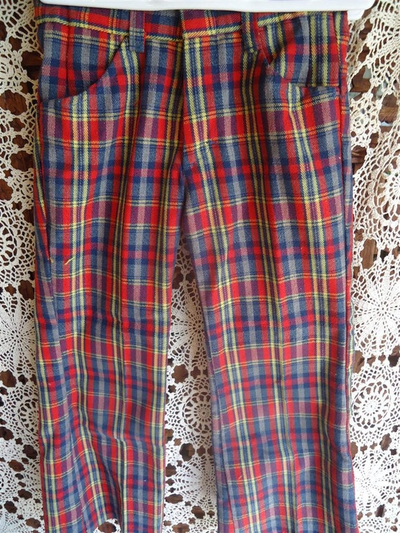 Plaid bell bottoms accept. interesting