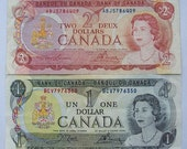 1970s Canada 1 and 2 Dollar Paper Money