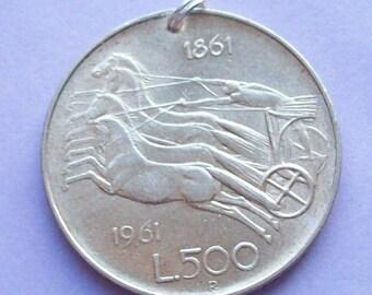 1961 Italian Silver Coin Charm Chariot