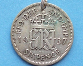 1930s - 1940s Lucky Silver Sixpence Coin Charm British