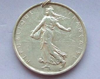 1960s Art Nouveau French 5 Francs Silver Coin Pendant