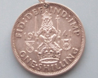 1940s Scottish Shilling British Silver Coin Charm Sterling Bale