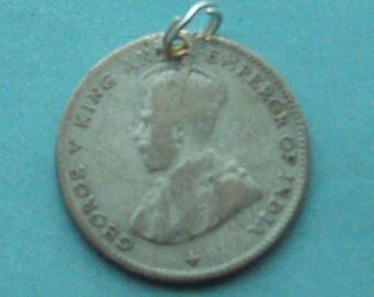 Straits Settlements 10 Cent Coin Charm Silver Singapore