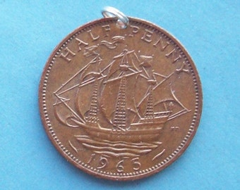 British Ship Coin Pendant with Sterling Silver Split Ring