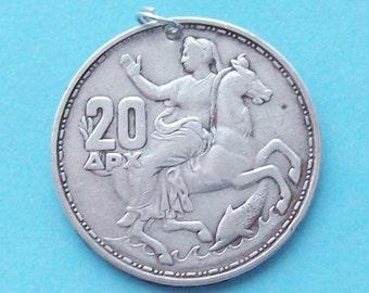 Selene Moon Goddess Greek Silver Coin Charm