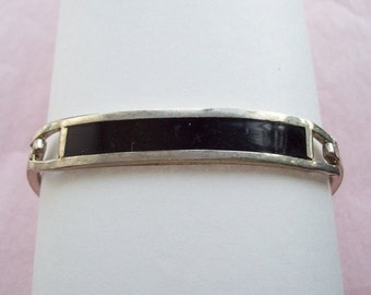 Mexican Black Inlay Bracelet Silverplate Brass