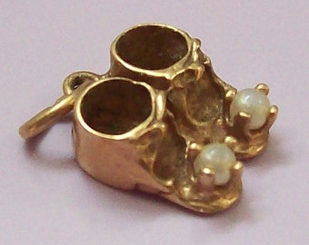Solid 10k Gold Baby Shoes Charm
