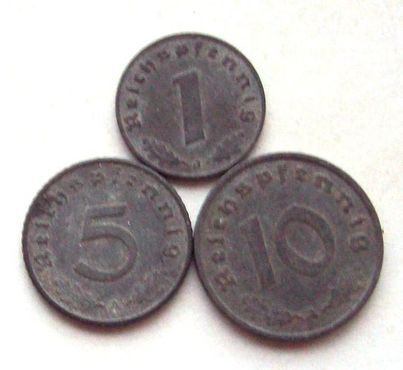 Third Reich Coins Germany 1940s Zinc