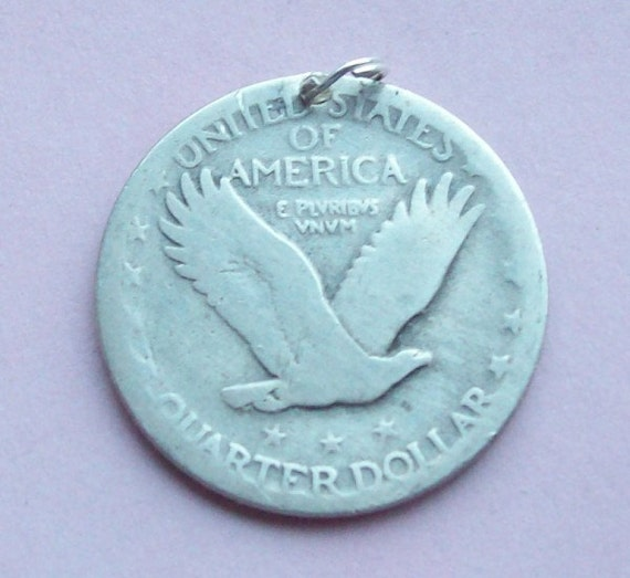 Items Similar To Flying Eagle Us Silver Quarter Coin Pendant 1920s On Etsy