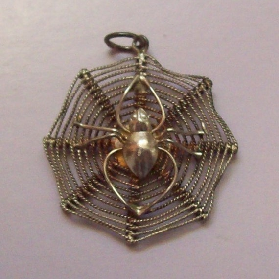 Spider Web Sterling Silver Filigree Pendant Charm