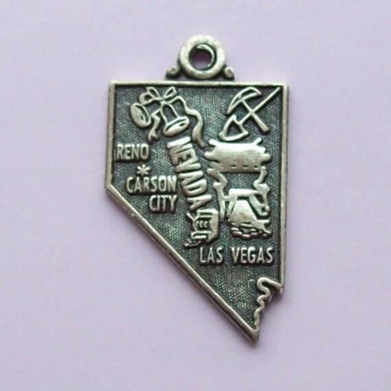 Nevada Map Sterling Silver Charm Souvenir