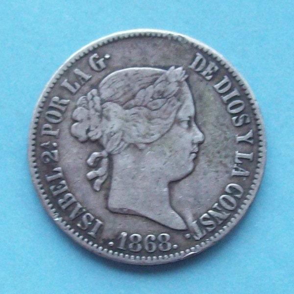 Philippine 5 Cents Coins: 1868 Philipines 50 Cents Silver Coin Spanish Colonial