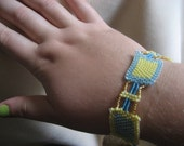 Blue and Yellow Panel Bracelet