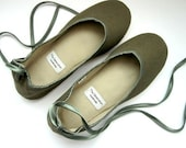 Eco-chic Handmade Vegan Flats in Olive Green -902D Reserved for Sally