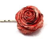 Hair Flower Rose Red Book Page Paper Rose Hair Pin