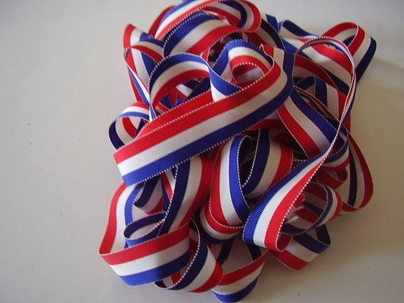 Vintage Grosgrain Ribbon Red, White & Blue