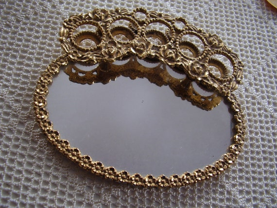 Vintage Vanity Lipstick Holder Mirrored Tray