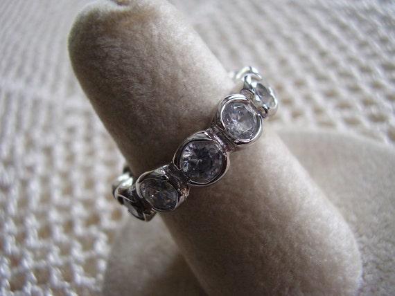 Vintage Ring Bezel Set CZ Silver Tone Wedding Band Size 6 1/2