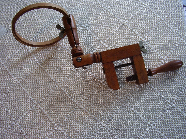 Vintage embroidery hoop holder charm wood clamp