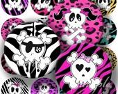 Funny Skulls Digital Collage ( 284) Sheet 1 inch Circles Bottle cap images glass tiles resin pendants bottlecaps ...