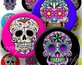 Colorful Sugar Skulls Digital Collage ( 294) Sheet 1 inch Circles for Bottlecaps , Pebble magnets or stickers