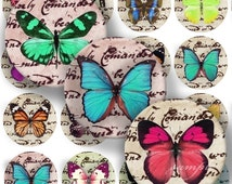 Lovely Butterflies Digital Collage ( 131 ) Sheet 1 inch Circles Bottle cap images glass tiles resin pendants bottlecaps .....