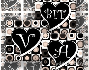 Retro Hearts Alphabet Digital Collage ( 278) Sheet 1 inch square images for resin pendants magnets glass tiles stickers ..