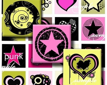 Retro Punk Stars Digital Collage ( 055) Sheet 0.75 inch x 0.83 inch scrabble tile images for scrabble tiles, resin pendants glass tiles ....