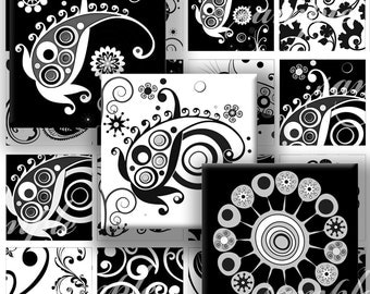 Black and White Floral Ornaments Digital Collage ( 251) Sheet 1.5 inch squares for glass tiles,resin pendants, Pebble magnets ,stickers ..