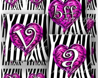 Purple Wild Hearts Alphabet Digital Collage (373) Sheet 0.75 inch x 0.83 inch scrabble tile images for scrabble tiles  glass tiles ...
