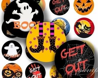 Halloween Digital Collage ( 005) Sheet 1 inch Circles Bottle cap images glass tiles resin pendants bottlecaps ...